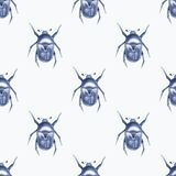 Beetle. Watercolor seamless pattern 6. Hand drawn watercolor seamless pattern Stock Photos