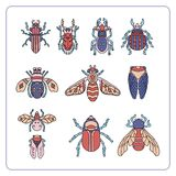 Beetles, maryls, insects hand drawing doodling set vector illustration