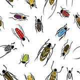 Beetles sketch, pattern for your design Royalty Free Stock Photo