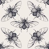 Beetles with wings vintage seamless pattern Stock Photo