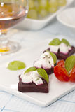 Beetroo canapes. Beetroo and goats cheese canapes Stock Image