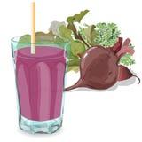 beetroot świezi Świeży sok w szkle ilustracji