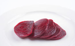 Beetroot. Sliced boiled beetroot on a white plate Stock Images
