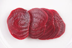 Beetroot. Sliced boiled beetroot on a white plate Royalty Free Stock Photos