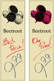 Beetroot. Two Price Tags with Vintage Effect Stock Image