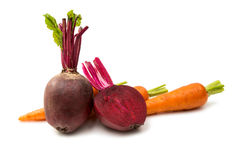 Beetroot And Carrot Isolated Royalty Free Stock Image