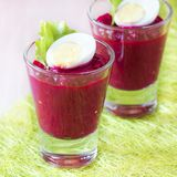 Beetroot, beet cream salad, mousse with eggs in shot glass Royalty Free Stock Image