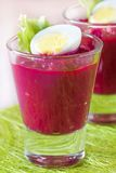 Beetroot, beet cream salad, mousse with eggs in shot glass Royalty Free Stock Photography