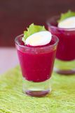 Beetroot, beet cream salad, mousse with eggs in shot glass Royalty Free Stock Photo