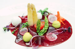Beetroot carpaccio on plate, close-up Stock Images