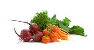 Beetroot, Carrots and Tomatoes over white Royalty Free Stock Images