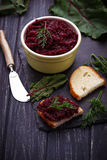 Beetroot caviar and toast Stock Images