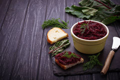 Beetroot caviar and toast Royalty Free Stock Photo