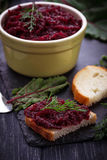 Beetroot caviar and toast Royalty Free Stock Images