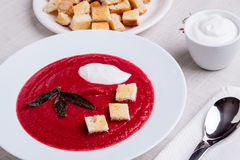 Beetroot cream soup Stock Photos