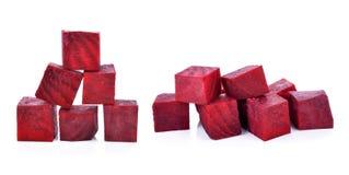 Beetroot cube slice. Isolated on white background Royalty Free Stock Image