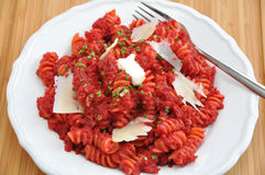 Beetroot Curry Pasta Royalty Free Stock Images