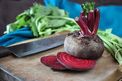 Beetroot Cutting on Wooden Board Royalty Free Stock Photography