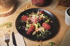 Beetroot falafel salad royalty free stock photos
