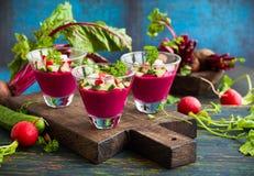 Beetroot gazpacho soup Royalty Free Stock Photo