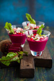 Beetroot gazpacho soup Royalty Free Stock Image