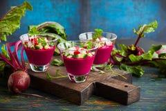 Beetroot gazpacho soup Stock Image