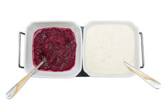 Beetroot and horseradish sauces. Isolated on white background royalty free stock photography