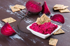 Beetroot hummus Stock Photos