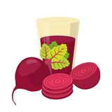 Beetroot juice, beetroot and slices. Cartoon flat style Royalty Free Stock Photography