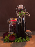 Beetroot juice and inlaid beetroot Stock Images