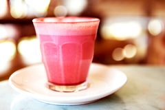 Free Beetroot Latte On Marble Background Stock Photography - 112454542