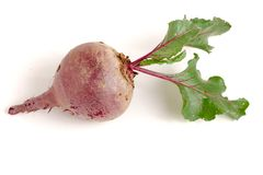 Beetroot with leaf isolated on white background.  Stock Photo