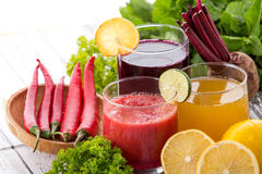 Beetroot, lemon and chilli heathy juice Royalty Free Stock Images