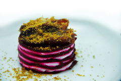 Beetroot Napoleon Cake. Beetroot Napoleon with Honey Drizzled Goats Cheese Royalty Free Stock Images
