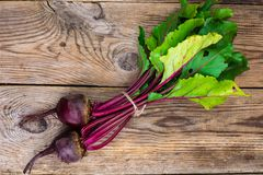 Beetroot on old wooden table Stock Photo