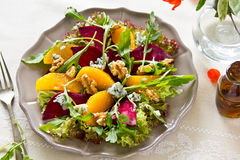 Beetroot,orange and blue cheese salad Stock Photography