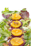 Beetroot and orange salad with walnuts Royalty Free Stock Photo