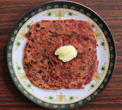 Beetroot Paratha Stock Photography