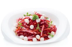 Beetroot and pear salad isolated on white Royalty Free Stock Photo