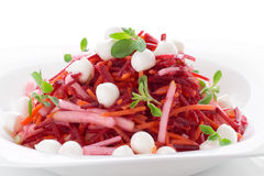 Beetroot and pear salad with mozzarella isolated on white Royalty Free Stock Photography