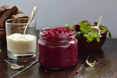 Beetroot pesto, served with rye toast and yogurt Royalty Free Stock Photography