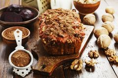 Beetroot pie with walnuts stock photos