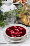 Beetroot red borsch with polish dumplings uszka. Traditional christmas eve in Poland. Selective focus stock image