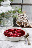 Beetroot red borsch with polish dumplings uszka Stock Images