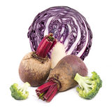 Beetroot, red cabbage  and broccoli. Beetroot, red cabbage and broccoli isolated on white background Royalty Free Stock Photo