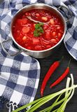 Beetroot red soup with white bean royalty free stock photo
