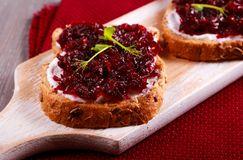 Beetroot relish over brown bread Stock Images