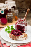 Beetroot Relish Preserves on Rye Toast. Marinated Beetroot Relish Preserves on Rye Toast, copy space for your text Stock Photography