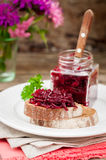 Beetroot Relish Preserves on Rye Toast. Marinated Beetroot Relish Preserves on Rye Toast, copy space for your text Stock Photo