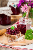Beetroot Relish Preserves on Rye Toast. Marinated Beetroot Relish Preserves on Rye Toast, copy space for your text Stock Images